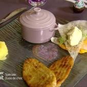Magret de canard, mille-feuille de légumes et gratin de pommes de terre
