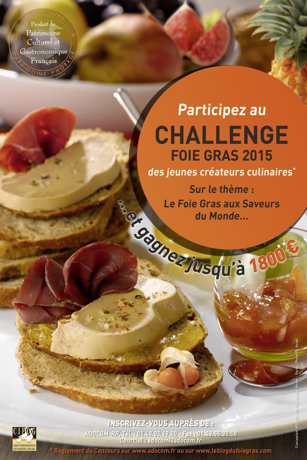 Lancement de la 11ème édition du « Challenge Foie Gras 2015 des Jeunes Créateurs Culinaires »