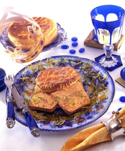 La galette de Foie Gras aux zestes d'agrumes et coulis d'orange