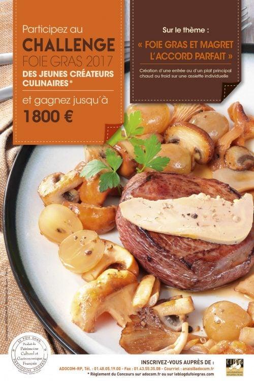 Les inscriptions au Challenge Foie Gras des Jeunes Créateurs Culinaires 2017 sont ouvertes !