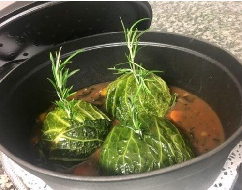 À découvrir la recette du Chef Olivier Foussat « Chou farcis au Foie Gras et petites trompettes » !